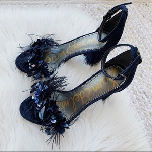 Sam Edelman Blue Feather Embellished Heels